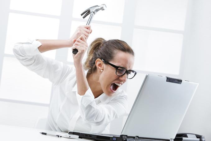 Lady Killing Laptop - Outlook Alerts