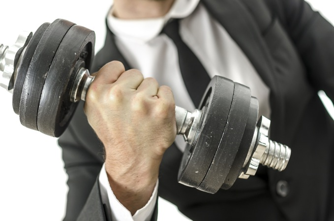 Business Man Lifting Weights (679)