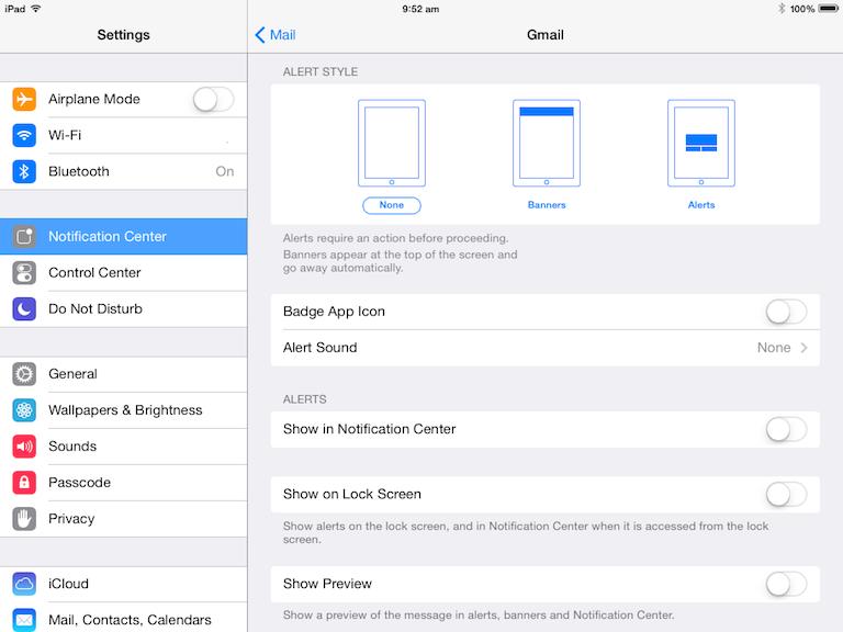 iPad screenshot - Mail - Email Alerts