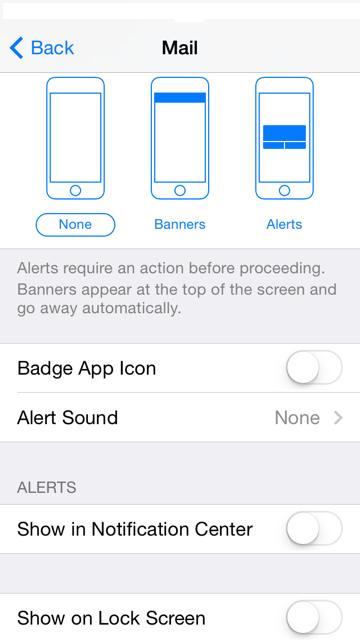 iPhone screenshot - Mail - Email Alerts